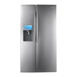 """Samsung - RSG309AARS 36"""" 29.6 Cu. Ft. Side-by-Side Refrigerator with Thru-the-Door Ice and - 296 cu ft Side by Side Refrigerator with External Filtered Ice  Water Dispenser Twin Cooling System helps keep food fresher longer Digital Temperature Controls are precise and easy to use Glass Spill-Proof Shelving in the refrigerator Tower LED light..."""