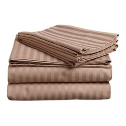 300 Thread Count Egyptian Cotton Queen Waterbed Taupe Stripe Sheet Set - 300 Thread Count Egyptian Cotton Queen Waterbed Taupe Stripe Sheet Set
