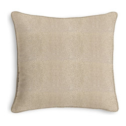 Gold Metallic Shagreen Pebble Corded Pillow - Black and white photos, Louis XIV chairs, crown molding: classic is always classy. So it is with this long-time decorator's favorite: the Corded Throw Pillow.  We love it in this metallic pebbled shagreen in a cool shade of gold. adds a touch of luxury with its subtle texture & shine.
