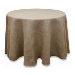 "Chambury Casa - 120"" Burlap Round Tablecloth - Natural Brown - Celebrate your special day with your reception accented with round burlap tablecloths in natural brown color! This tablecloth from Leilani Wholesale is made with high-quality jute/burlap fabric. The 120"" round tablecloths would drop to the floor on 60"" standard 30"" high round tables, a 27"" drop on 66"" round tables, and a 24"" drop on 72"" round tables.  For a truly beautiful setting, this natural burlap tablecloth is a must-have!"