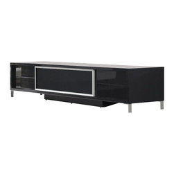 VIG Furniture - Brighton Mini Black Lacquer Entertainment Center - The Brighton Mini entertainment center works with any decor and will have you watching your favorite show in modern luxury. The entertainment unit is crafted with a wooden frame construction that is finished in a high gloss black lacquer. The unit features a center glass console with a sliding door for your entertainment devices as well as storage drawers on each end. Attached to the bottom are polished steel legs that add to the overall look.