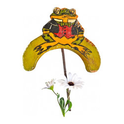 "Frog Garden Stake - One of a kind vintage wood hand painted garden stake in the shape of a frog. The Frog has a metal stake to push into the ground or a planter. The hand painted frog details are on both sides. Meaures 9""6 x 7""5."