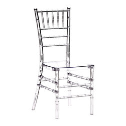 Design Lab MN - Polycarbonate Crystal Clear Chiavari Chair (Set of 4) - The Crystal Chiavari Chair was created on the classic lines of the Chiavari Chair: the antique bamboo wooden look with a modern crystal appearance. This innovation of the classic design from Chiavari, Italy was designed by OC Designs International of Chicago. It is available in transparent pastel or opaque bold colored polycarbonate produced by 4 patented injection molded processes and reinforced with all stainless steel. It is comfortable and suitable for indoor/outdoor use with UV-protection. Made of high-end polycarbonate material for unmatched strength and feel with stainless steel reinforced inserted side spindles, the Crystal Chiavari is resistant to impact, scratches and stains. It has a comfort-flex backrest & Non-skid, non-marking feet with a capacity of up to 440 pounds, while only weighing 11lbs. Shipped un-assembled in a set of 4; perfect for indoor/outdoor commercial, institutional and residential use.