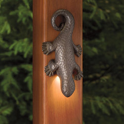 Kichler - Kichler 15047OZ Oak Trail Lizard Accent Low Voltage Deck - Kichler Landscape Oak Trail Lizard Accent Low Voltage Deck & Patio Light from the Oak Trail CollectionHeavy duty, solid brass lizard to accent decks, breakwalls or other interest points. Patinas over time and may turn verdigris.