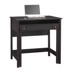 Bush - Pullout Laptop Desk - Ingenious pullout laptop desk is actually two desks in one.  Deep rich porter finish pieces nest together to save space, then just pull on the pewter-tone knobs to separate the two and create additional work surface.  Clean, simple lines will blend with any decor. Porter finish. Two desk surfaces in one. Clever retractable desk and drawer glides on ball-bearing slides. Pull out secondary desk surface when ready to work and stow underneath when not in use to save space. Open area between desk surfaces accommodates laptop. Simple, attractive design. 34.65 in. W x 19.67 in. L x 334.65 in. HBrandy wine's simple, elegant lines hide a retractable desk and drawer, for two work surfaces in s single compact package.