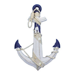 """Handcrafted Nautical Decor - Wooden Rustic Blue/White Anchor with Hook Rope and Shells 24"""" - Nautical Decor - An icon of sailing past and present, the nautical anchor is both a necessary piece of equipment aboard ship as well as a talisman of good luck for all sailors who step aboard. This delightful Wooden Rustic Blue/White Anchor with Hook Rope and Shells 24"""" carries with it that same enchanting feel, bringing the wonder and magic of the sea into your home or office. No matter where you choose to place one of these fabulous anchors, enjoy its chic nautical style, historic significance, and symbolic wonder each and every day."""