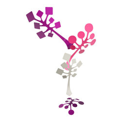 Schmitt Design - Sprig Mobile, Berry - Coming in shades of pink, blue or green, this playful mobile takes a cue from blooming branches to create an organic installation indoors. Place it in an entryway or double stairwell for a little visual interest overhead.