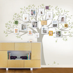 "Family Tree Decal - Two Colors, Scheme C, Standard - 107""w x 90""h - An updated version of our Family Tree decal! Now you can choose a separate color for the leaves!"