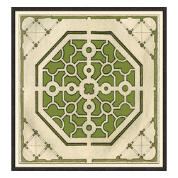 Soicher-Marin - Large Garden Plan C, Green - Giclee Print with a Black Ornate wooden frame with decorative line pattern floated on an off white mat.  Includes glass, eyes and wire. Made in the USA. Wipe down with damp cloth