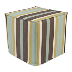 """Chooty - Chooty Cape Cod Lagoon Collection 17"""" Square Seamed Foam Ottoman - Insert 100 High Density Foam, Fabric Content 100 Polyester, Color Brown, Cream, Aqua, Hassock 1"""