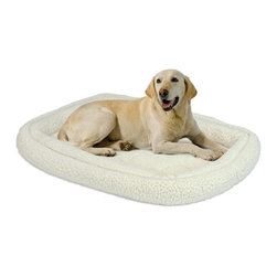 Mid-West Homes for Pets - MidWest Quiet Time Deluxe Fleece Double Bolster Pet Bed Multicolor - 40318-FS - Shop for Beds Covers and Fill from Hayneedle.com! Ensure your pet is nice and comfortable while in their crate and carrier with the Midwest Quiet Time Deluxe Fleece Double Bolster Pet Bed. Made with ultra-soft synthetic sheepskin this bed features a cushioned cotton base and polyester-filled bolsters. Elastic corner straps are included to secure the bed to the crate pan. Exquisitely soft and machine washable this cozy bed is ideal for pets 41-71 pounds.Dimensions:XX-Small: 18L x 12W inchesX-Small: 22L x 13W inchesSmall: 24L x 18W inchesMedium: 30L x 21W inchesIntermediate: 36L x 23W inchesLarge: 42L x 28W inchesX-Large: 48L x 30W inchesXX-Large: 54L x 35W inchesAbout Mid-West Metal Products/Midwest Homes for PetsIn 1921 Mid-West Metal Products made only one item a Kruse Switch Box Support and over the years began manufacturing millions of wire and sheet metal component parts. By 1960 they were producing training crates for pets. Today Midwest Homes for Pets a division of Mid-West Metal Products produces and markets a variety of pet containment products. These products include dog crates training puppy crates dog kennels cat playpens bird cages vehicle barriers soft-sided carriers grooming tables and much more. They also manufacture a full line of pet accessories like beds and feeding dishes.