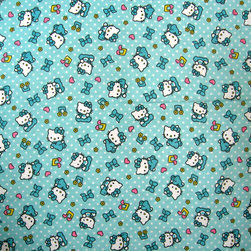 "SheetWorld - SheetWorld Fitted Pack N Play (Graco) Sheet - Hello Kitty Blue - Made in USA - This is a SheetWorld product made from Hello Kitty printed fabric. This 100% cotton ""flannel"" pack n play sheet is made of the highest quality fabric that's double napped. That means these sheets are the softest and most durable. Sheets are made with deep pockets and are elasticized around the entire edge which prevents it from slipping off the mattress, thereby keeping your baby safe. These sheets are so durable that they will last all through your baby's growing years. We're called sheetworld because we produce the highest grade sheets on the market today. Features the one and only Hello Kitty! Size: 27 x 39. Not a Graco product. Sheet is sized to fit the Graco playard. Graco is a registered trademark of Graco."