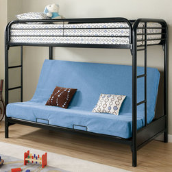 Coaster - 2250K Twin/Futon Bunk Bed - Black - This twin over full futon bunk bed features full length guard rails and welded braces for safety, while built in side ladders allow easy access to the top twin bed. Below is a futon couch which can be converted into a full bed, offering versatile use.
