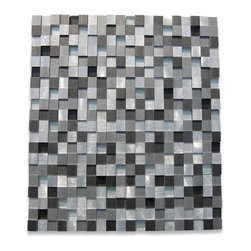 "GlassTileStore - Industrial 3D Graphite Peak Metal Tile - Industrial 3D Graphite Peak Metal Tile          The clean and 3D geometric design with the metal silver stainless steel and metallic glass is chic and visually striking. The tile will provide any room with a sleek, stylish and contemporary appearance. This is a great alternative to use for in a kitchen back splash, feature wall or as decorative borders.          Chip Size: 1/2"" x 1/2""   Color: Stainless Steel, Black, Metallic Silver   Material: Metal and  Metallic Glass   Finish: Polished and Brushed   Sold by the Sheet - each sheet measures 12"" x 12"" (1 sq. ft.)   Thickness: 10mm   Please note each lot will vary from the next.            - Glass Tile -"