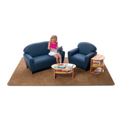 Brand New World - Brand New World Enviro-Child Upholstered School Age Living Room Set - BRAN069 - Shop for Childrens Chairs from Hayneedle.com! Creating the perfect reading space in your elementary classroom is made easy with theBrand New World Enviro-Child Upholstered School Age Living Room Set. This four-piece set comes with a sofa chair end table and coffee table all super-easy to clean. Both tables are constructed of durable hardwood while the chair and sofa are covered with PVC-free polyurethane upholstery finished with an antimicrobial coating that inhibits the growth of bacteria and viruses. Built with sturdy hardwood frames and dense foam the sofa and chair each include 3.5-inch legs making the seat heights perfect for children age 6 and older. The set comes in your choice of vibrant kid-friendly color. Some assembly required.About Brand New WorldAn affiliate of U.S. Worldwide Inc. Brand New World believes that through the wonderful pleasure of play young children s lifelong learning begins. Based on these beliefs and with the guidance of early childhood experts Brand New World develops products that meet the needs of early childhood children teachers and classrooms. Along with meeting safety guidelines set by the CPSC ASTM CA117 and CPSIA Brand New World s products consist of top-quality materials that are of the highest quality yet are fun and affordable.