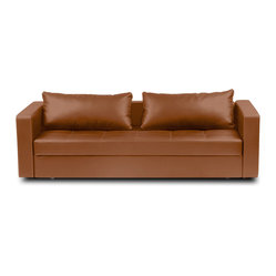 Eperny Light Brown Faux Leather Sleeper Couch
