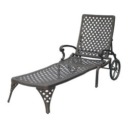 Darlee - Darlee Nassau Chaise Lounge Chair Multicolor - DL33/101 - Shop for Chaise Lounges from Hayneedle.com! Versatile comfortable and elegant the Darlee Nassau Chaise Lounge Chair lets you soak up the sun in style. This chaise lunge features a multi-position recline feature airflow-friendly basket weave design and large back wheels for easy mobility. It's built to last from premium cast aluminum and has a powder-coated antique bronze finish. A neutral sesame fabric cushion is hinged and includes ties to keep it in place. About DarleeSince 1993 Darlee has developed a wide variety of products to help you create your ideal outdoor-living environment. Working with high-quality materials Darlee achieves a large spectrum of styles that covers a range of interests as well as aesthetic tastes. From classic to contemporary from conversation sets to dining sets to fire pits Darlee has you covered for outdoor entertaining. Because the company knows good business is built on trust and integrity Darlee focuses on reliable quality construction and remains committed to providing customers with the best service possible.