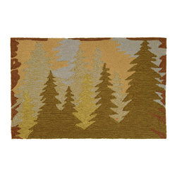 "Homefires - Mountain Pines Rug - These trees are so happy they look like Bob Ross himself came along and painted them. Bring these ""happy little trees"" into your home on this wool look-alike, washable accent rug. Good moods are bound to follow."