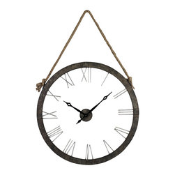 Sterling - Sterling 26-8643 Metal Wall Clock Hung On Rope - Sterling 26-8643 Metal Wall Clock Hung On Rope