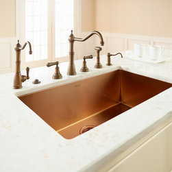 "ROHL Single Bowl Luxury Stainless Copper Kitchen Sink - Handcrafted in Italy, the award-winning, ROHL Single Bowl Luxury Copper Stainless Sink is constructed of commercial grade (16 gauge) stainless steel for extreme durability. Crafted with a unique ""tangent edge,"" a rounded, easy-to-clean bottom edge radius and zero-edge side walls, this sink is as easy to clean as it is durable.  An insulating ""quiet coat"" - reduces splash-back sound. ROHL Luxury Copper Stainless Sinks are available in several sizes and also a copper finish, including bar sinks, to accommodate any sized kitchen."