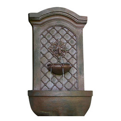 "Sunnydaze Decor - Rosette Leaf Outdoor Wall Fountain Iron - Dimensions: 17""Wide x 10"" Deep x 31""High, 13 lbs"