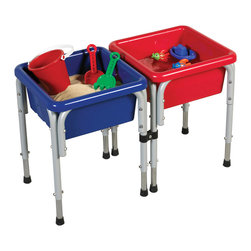 Ecr4kids - Ecr4Kids 2 Station Square Sand And Water Table With Lid - A 2-station, modular Sand and Water Play Center that promotes tactile discovery, fine motor skills and social interaction. Each station features a removable basin for easy draining and cleaning, and translucent lids to keep the unit clean when not in use. Stations feature strong, steel legs that are adjustable and can also be added to other ECR4Kids square sand and water stations. Style Notes Steel Legs with Blue and Red basins. Colors may vary and are subject to change without notice.
