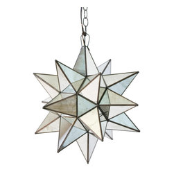 Worlds Away - Worlds Away Antique Mirror Star Chandelier-Large - Medium Antique Mirror Star Chandelier. Uses 1 - 60 watt bulb. Comes w. 3' antique brass chain and canopy. Additional chain may be purchased upon request.