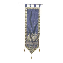 Indian Selections - Handmade Gray Wall Decor Tapestry with Tassels, 18 X 60  In. - Size: 18 X 60 Inches with 4 Inches Loops