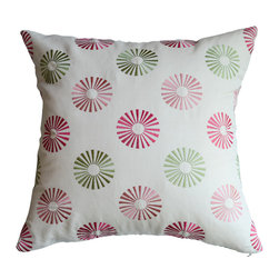 KH Window Fashions, Inc. - Modern Embroidered Dots Pillow in Red and Green, Without Insert - This modern embroidered circle pillow will complement any decor.