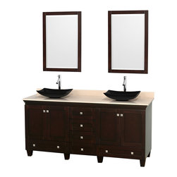 "Wyndham Collection - 72"" Acclaim Double Vanity w/ Ivory Marble Countertop & Arista Black Granite Sink - Sublimely linking traditional and modern design aesthetics, and part of the exclusive Wyndham Collection Designer Series by Christopher Grubb, the Acclaim Vanity is at home in almost every bathroom decor. This solid oak vanity blends the simple lines of traditional design with modern elements like beautiful overmount sinks and brushed chrome hardware, resulting in a timeless piece of bathroom furniture. The Acclaim comes with a White Carrera or Ivory marble counter, a choice of sinks, and matching mirrors. Featuring soft close door hinges and drawer glides, you'll never hear a noisy door again! Meticulously finished with brushed chrome hardware, the attention to detail on this beautiful vanity is second to none and is sure to be envy of your friends and neighbors"