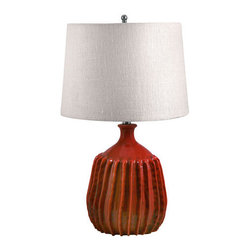 Lamp Works - Tomato Red Ribbed Terra Cotta Table Lamp - - Inspired by nature, and a stylish way to brighten any room: organic lines, masterfully crafted of terra cotta?glazed by hand?and complemented with the sumptuous texture of bleached burlap.  - Product Material: Terra Cotta  - Bulb Type: 3 WAY  - Shade Width or Diameter: 14?x16?  - Shade Height: 11  - Shade Material or Composition: Burlap Lamp Works - 248(INC)