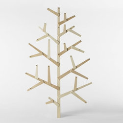 Wooden Wall Tree - This is such a fun nontraditional tree. It could be a fun base for a homemade advent calendar.