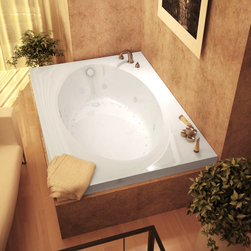 Venzi - Venzi Grand Tour Viola 42 x 72 Rectangular Air & Whirlpool Jetted Bathtub - The Viola bathtub series features classic rectangular design with a soft-edge oval opening. Classic, round-opening style will add a hint of luxury to any bathroom setting.