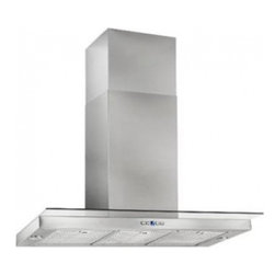 "Best - WC44E90SB Chimney 35 7/16"" Range Hood with Two 6-watt LED Lamps  Stainless Steel - A clear glass visor extends capture without sacrificing the light airy style in this modern design The Dovere design is a must have in any contemporary kitchen"