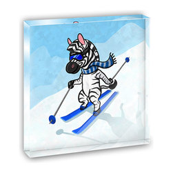 "Made on Terra - Zebra Skiing Mini Desk Plaque and Paperweight - You glance over at your miniature acrylic plaque and your spirits are instantly lifted. It's just too cute! From it's petite size to the unique design, it's the perfect punctuation for your shelf or desk, depending on where you want to place it at that moment. At this moment, it's standing up on its own, but you know it also looks great flat on a desk as a paper weight. Choose from Made on Terra's many wonderful acrylic decorations. Measures approximately 4"" width x 4"" in length x 1/2"" in depth. Made of acrylic. Artwork is printed on the back for a cool effect. Self-standing."