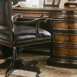 Hooker Furniture - Preston Ridge Executive Desk w Parquet Top - Two pullout writing slides. Two file drawers. Four utility drawers. Center drawer with drop-front. Two pedestal locks. Kneehole drawer lock. Ball bearing slides. Adjustment three settings at 2 in. increment. Made from hardwood solids with cherry veneers. Black rub-through finish with physical distressing. Keyboard area: 28 in. W x 19.5 in. D x 2.88 in. H. Kneespace: 27.13 in. x 20.87 in. D x 23.87 in. H. First file drawers (shortest width): 15.31 in. W x 27.37 in. D x 9.63 in. H. Second file drawers (shortest width): 15.31 in. W x 28.25 in. D x 9.63 in. H. Front opening: 30 in. W x 11.63 in. D x 19.75 in. H. Side middle drawer (shortest width): 15.31 in. W x 27.37 in. D x 3.88 in. H. Side middle drawer (widest width: 15.31 in. W x 28.25 in. D x 3.88 in. H. Side top drawers (shortest width): 15.25 in. W x 19.56 in. D x 1.75 in. H. Side top drawers (shortest width): 15.25 in. W x 20.63 in. D x 1.75 in. H. Overall: 75 in. W x 37.75 in. D x 30.25 in. H