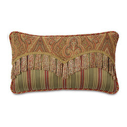"Frontgate - Glenwood 22"" x 13"" Decorative Pillow - From Eastern Accents. 16"" sq., 22"" x 13"", 18"" sq., 20"" sq.. Dry clean only recommended. Because this bedding is specially made to order, please allow 4-6 weeks for delivery.. A true classic, the Glenwood Bedding Collection is rich in traditional hues and adornments. The duvet cover, in a grand ruby and olive design pairs with mitered and gimped shams in deep sage with intricate insert styling. The collection's accessories are generously ornamented in fringed edges and decorative tassels, making this an ensemble to behold.  .  .  . . Made in USA of imported goods. Part of the Glenwood Bedding Collection."