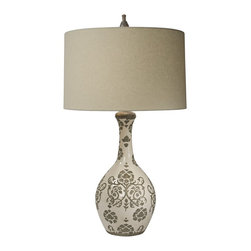 "Lamps Plus - Rustic - Lodge Natural Light Taupe Silhouette Vase Table Lamp - A warm floral and scroll motif gives this alluring cream pottery vase table lamp its distinctive look. An oatmeal linen fabric drum shade and a decorative finial complete this delightful transitional design. Grace your home with The Natural Light of this beautiful lamp. Pottery table lamp. Cream finish. Warm floral scroll motif pattern. Oatmeal linen fabric drum shade. Maximum 150 watt bulb (not included). 34"" high. Three-way switch. Shade is 18"" across the top 19"" across the bottom and 11"" on the slant. Base is 6 1/4"" wide.  Pottery vase table lamp.  Cream finish.  Warm floral scroll motif pattern.  Oatmeal linen fabric drum shade.  Maximum 150 watt bulb (not included).  Three-way switch.  33 1/2"" high.   Shade is 18"" across the top 19"" across the bottom and 11"" on the slant.  Base is 6 1/4"" wide."