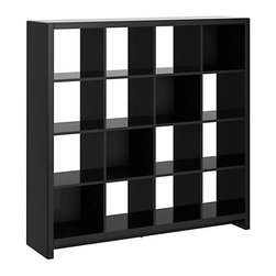 kathy ireland Office - New York Skyline 16-Cube Bookcase (Modern Mocha) - Show off more than your art and special books with this contemporary and beautiful 16-cube room divider. Designed to match any Kathy Ireland Office by Bush Furniture New York Skyline piece, it features an open design that shows off your books, art, and collectibles, or just as easily fits matching Kathy Ireland Office by Bush Furniture storage bins. It floats in the center of a room or rests against a wall, and its rounded edges and soft corners protect against collision in juries. All pieces are crafted with painted wood finish and a protective top coat. The in clouded Tip Kit adds another safety layer to keep your family safe. Features Bush Furniture's Quick-to-Assemble technology for dramatically reduced assembly time