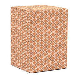 Howard Elliott Geo Tangerine Tall Block Ottoman - The Tall Block is constructed with a dense light-weight foam and then topped off by a soft, high quality foam making it sturdy yet comfortable. Its unique design allows weight to be distributed evenly keeping it from tipping like most foam ottomans. Another bonus? This piece is indoor/outdoor so you can take it outside!