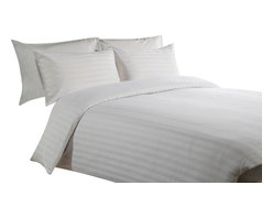"""600 TC 15"""" Deep Pocket Sheet Set with Duvet Set Striped White, Twin - You are buying 1 Flat Sheet (66 x 96 Inches), 1 Fitted Sheet (39 x 80 inches), 1 Duvet Cover (68 x 90 Inches) and 4 Standard Size Pillowcases (20 x 30 inches) only."""