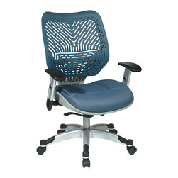 """Office Star - REVV SpaceFlex Back Office Chair, Blue Mist Back/Blue Mist Mesh Seat - Unique self adjusting ice SpaceFlex back managers chair. Self adjusting SpaceFlex backrest support system with breathable shadow mesh seat, one touch pneumatic seat height adjustment, self adjusting 4 to 1 synchro tilt control with 3 position lock and anti-kick function, tilt tension adjustment, height adjustable platinum coated arms with soft PU pads, heavy duty platinum coated base with black end caps and dual wheel carpet casters. Seat height-(18.25-22.50), back dimension-21""""w x 19""""h.arms to floor max-24.75."""