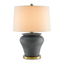 Currey and Company - Winkworth Table Lamp - With a lucious rounded shape, the Winkworth table lamp is stylish and sophisticated. It's jug-like body has a Flat Black finish giving it a deep and muted allure. The lamp body is made with fine porcelain, while the metal base is finished with a gleaming Antique Brass.