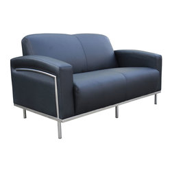 Boss - Black Caressoftplus Loveseat With Chrome Frame - Contemporary European design. Polished stainless steel frame. Upholstered with ultra soft, durable and breathable Black CaressoftPlus.