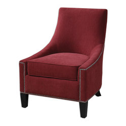 Uttermost - Kina Armless Chair - The cherry on top! This crimson berry accent chair is ready to garnish your tastiest rooms with eye-catching details like elegant sloping sides and silver nailhead trim. All that and a tall back and deep seated cushion, ready for the comfort-before-beauty brigade.