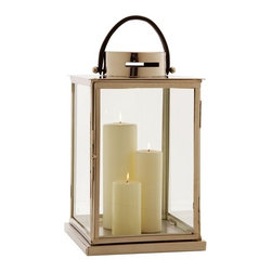 Arteriors - Albany Lantern By Arteriors - Shed a little light, anywhere! This striking lantern, large enough for an assortment of pillar candles, boasts a sturdy leather handle so you can tote it easily, casting a warm glow as you go.