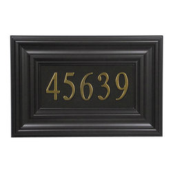 """Boulevard Address Plaque - Simple rectangular shape and multiple edge frames are the commanding features of the Boulevard address plaque.  Includes mail-in certificate for up to five 3"""" address numbers in your choice of finish."""