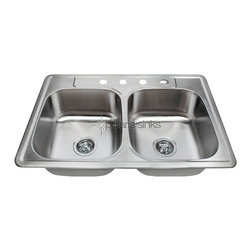 PolarisSinks - Polaris P205T Double Bowl Topmount Stainless Steel Sink - Stainless Steel is the most popular choice for today's kitchens due to its clean look and durability. The beautiful brushed satin finish helps to hide small scratches that may occur over the lifetime of the sink. Our Stainless Steel sinks are made from high quality 16 gauge steel, which is 25% thicker than 18 gauge. Most models are made of one piece construction that ensures the sturdiest kitchen sink you will find. Our sinks are made from 304 grade stainless steel that contains 18% chromium and 8-10% nickel and are guaranteed not to rust. Each sink is fully insulated and has a sound dampening pad. Our stainless steel sinks are backed by a limited lifetime warranty. Each sink comes with a cardboard cutout template and mounting hardware.
