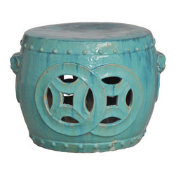 "Kathy Kuo Home - Antique Green Glaze Double Fortune Rare 27""D Garden Seat Drum - Traditionally used in China as tea tables-these garden stools make a perfect addition to your living space as side tables, or clustered together to be used as a coffee table. Glazes are triple fired for added luster and shine. With a hand made product, glaze variations of up to 10% is to be expected."