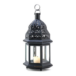 """Koehler Home Decor - Koehler Home Decor Moroccan Birdcage Lantern - Starlight patterns glow from each cutout of this ornate metalwork candle lantern Traditional Moroccan styling adds a classic exotic look to any garden setting. 6 X 5 X 12.5"""" High. Iron and glass. Candle not included. WT: 1.2 LBS.Dimension:6 X 5 X 12.5"""". Material:Iron and glass. Weight: 1.2 LBS."""
